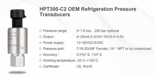 Refrigerant pressure sensors are used for pressure measurement